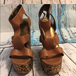Animal print wedges